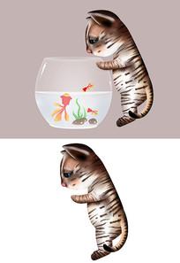原创手绘可爱卡通鱼缸看鱼猫