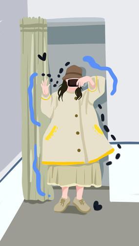 穿洛丽塔裙子的小萝莉早上自拍场景