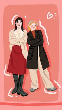 粉色背景拍摄闺蜜照的手绘插画