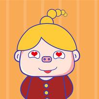 花痴眼猪猪女孩表情包