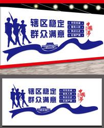 蓝色警营宣传文化墙设计