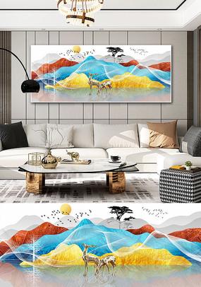 新中式现代线条抽象金色水墨山水装饰画