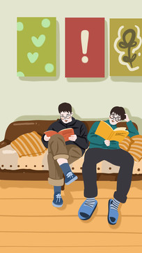 兄弟两个躺在家里沙发上看书学习的样子温馨
