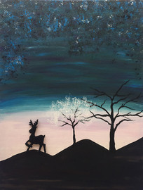 原创麋鹿风景手绘插画绘画
