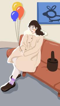 坐在沙发上的安静美女