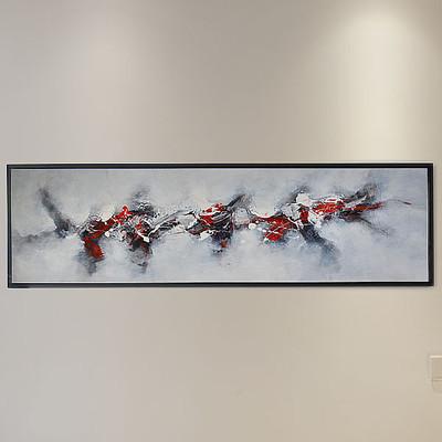 纯手绘抽象油画红黑白三色床头画