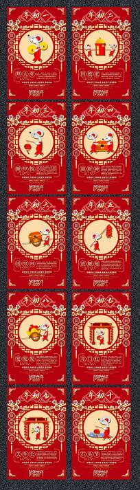 红色喜庆鼠年初一到初十春节习俗海报