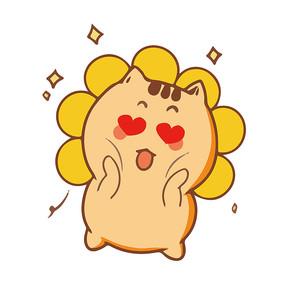 向日葵花痴小猫表情包元素