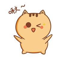 啾咪眨眼小猫咪表情包元素