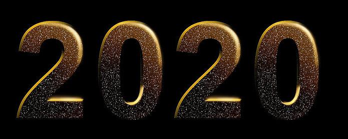 2020新年闪光立体字