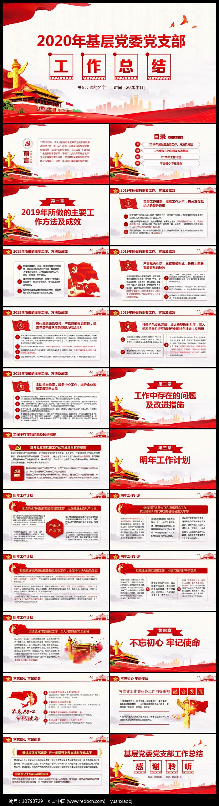 党委书记党支部党建年终总结计划PPT图片