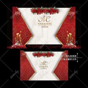 红金色婚礼效果图设计大理石迎宾区婚庆背景