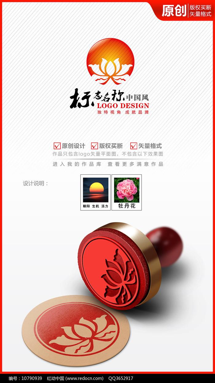 莲花牡丹花大气高档logo商标志设计图片