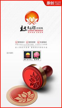 莲花牡丹花大气高档logo商标志设计