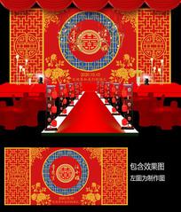 新中式婚礼舞台背景板设计