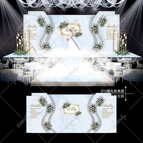 蓝灰色大理石婚礼效果图设计雾霾蓝婚庆