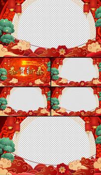 喜庆鼠年年会剪纸祝福拜年视频框AE模板