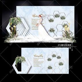 白蓝色复古婚礼效果图设计大理石纹婚庆背景