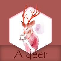 唯美鹿喝咖啡手绘表情元素