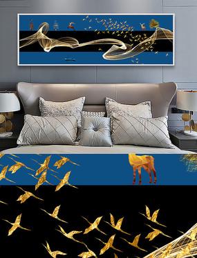 新中式麋鹿抽象线条床头装饰画