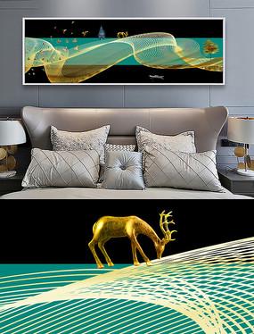 新中式麋鹿抽象线条风景床头装饰画