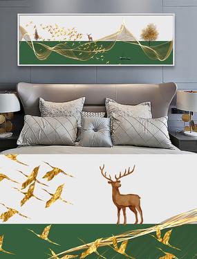 新中式麋鹿抽象线条风景装饰画