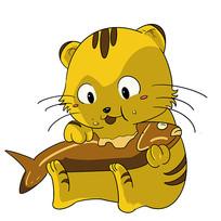 吃小鱼的大黄猫表情包