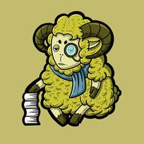 戴围巾看书的绿色小羊原创手绘表情包