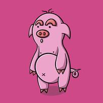 粉色背景丑萌猪原创手绘表情包