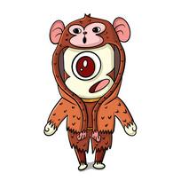 猴子外套下的外星人原创手绘表情包