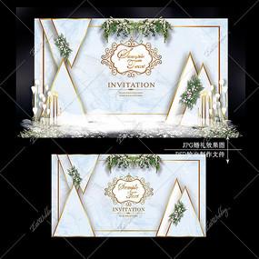 蓝灰色婚礼效果图设计大理石纹婚庆迎宾区