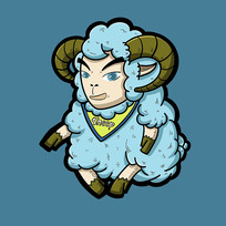 蓝色卡通山羊原创手绘表情包