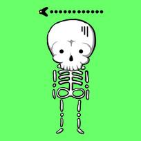 绿色背景可爱小骷髅原创手绘表情包