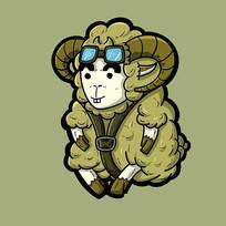 绿色卡通山羊插画原创手绘表情包
