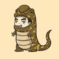 迷彩恐龙可爱小男孩原创手绘表情包