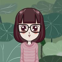 齐刘海黑框眼镜小女孩手绘卡通表情包