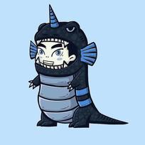 深蓝色恐龙装男孩原创手绘表情包