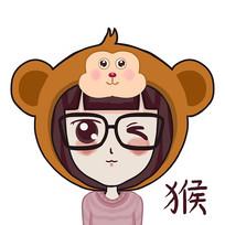 属猴的小女孩手绘卡通表情包