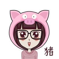 属猪的小女孩手绘卡通表情包