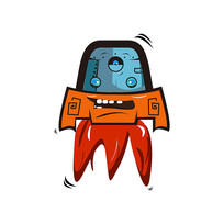 创意火箭小人手绘卡通表情包