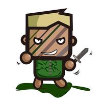 创意小人持剑手绘卡通表情包
