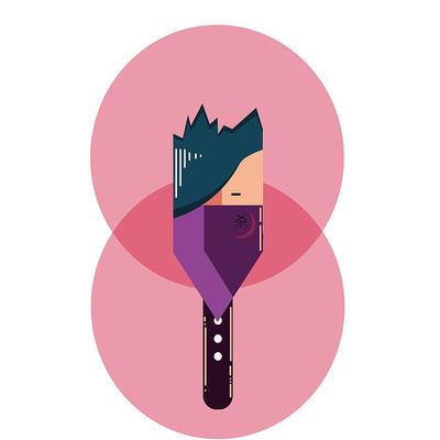 粉色背景哥特风表情手绘卡通表情包
