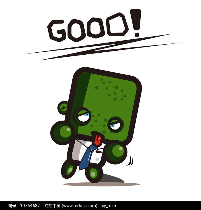 绿色创意小人good手绘卡通表情包图片