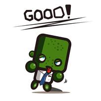 绿色创意小人good手绘卡通表情包