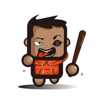 拿棒球棒奔跑的小人手绘卡通表情包
