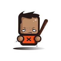 拿棒球棒的方脸小人手绘卡通表情包