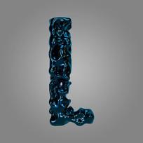 金属流体炫酷字母L