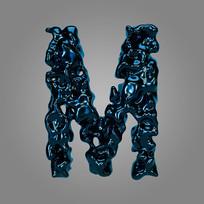 金属流体炫酷字母M