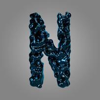 金属流体炫酷字母N