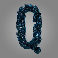 金属流体炫酷字母Q